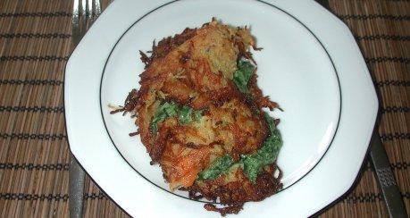 Gemüsepuffer mit Spinatfüllung