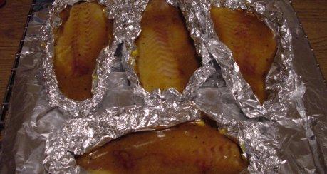 Rotbarschfilet in Bananensaft