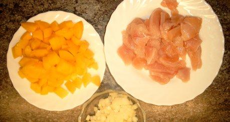 Geschnetzeltes mit Pfirsich