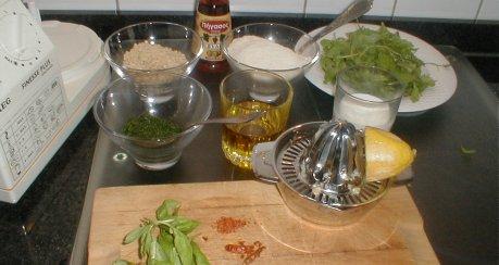Kartoffelsalat mit Rucolasoße