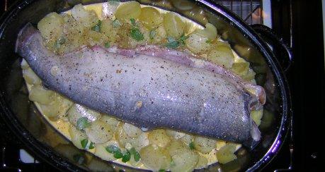 Lachs gebacken auf Majoran-Kartoffeln