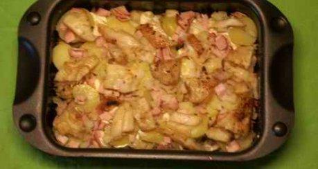 Fisch-Auflauf mit Kartoffeln und Schinken
