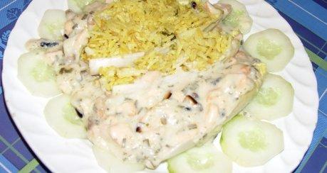 Garnelen-Lachshappen mit Kräuter-Reis & Sauce