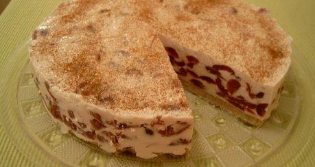 Quarkkuchen mit Kirschen (fast) ohne Backen (Nr. 20050709)