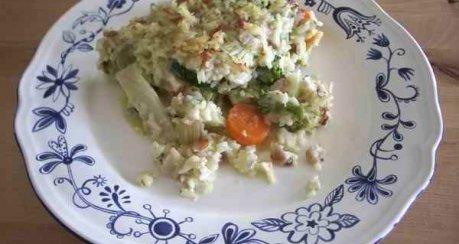 Gemüse-Gratin mit knuspriger Reiskruste