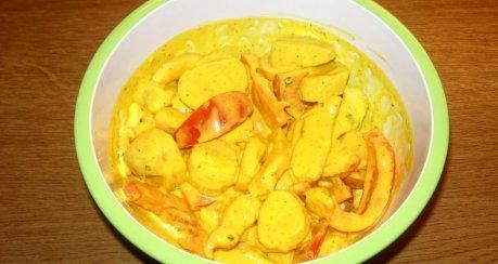 Kartoffel-Pouletsalat an Safransauce (Resteverwertung)