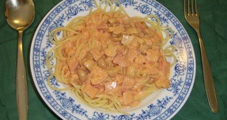 Spagetti mit Tomaten-Schinken-Sahnesoße